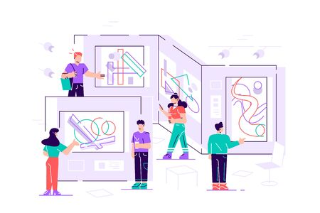 People regarding creative artworks or exhibits in museum. Exhibition visitors viewing modern abstract paintings at contemporary art gallery. Colorful vector illustration in flat cartoon style for web Çizim