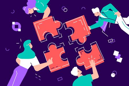 Teamwork and team building flat design vector illustration. Coworkers assembling jigsaw puzzle cartoon characters. Coworking and business partnership concept. Businessmen and businesswomen cooperation Illustration