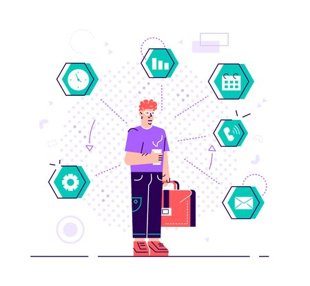 Businesswoman is standing and holding briefcase with office icons on the background. Multitasking and time management concept. Effective management. Flat style vector design illustration for web site.