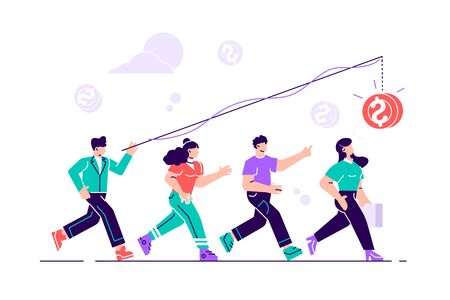 Vector illustration, the pursuit of money, career growth to success, flat color icons, business analysis. Flat style modern design vector illustration for web page, cards, poster, social media.
