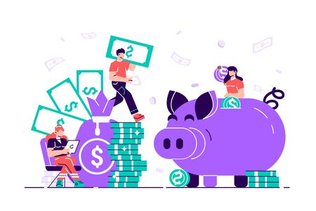 Vector flat illustration, a large piggy bank in the form of a piglet on a white background, financial services, small bankers are engaged in work, saving or accumulating money, a coin box with falling