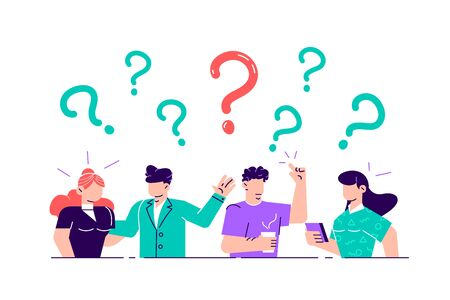 Vector illustration. Concept illustration of people frequently asked questions around question marks. Answer to question metaphor - vector. Flat style vector illustration for web page, social media.