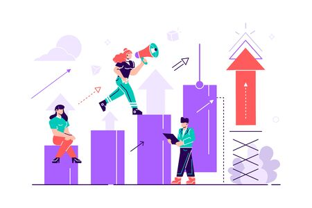 Prepare the launch of a business project. Rise of career to success. Business analysis, take-off scale up. Flat style color icons vector illustrationfor web page, social media, documents, cards. 일러스트