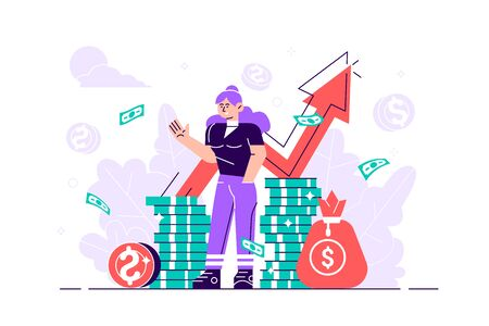Financial consultant leaning on a stack of coins smiles friendly and waves with hand. Successful investor or entrepreneur. Financial consulting, investment and savings. Flat modern vector illustration