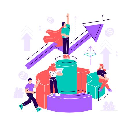 Vector illustration, virtual business assistant. teamwork on performance, brainstorming, card investment management. investing money in a project Vector. Flat style modern design vector illustration