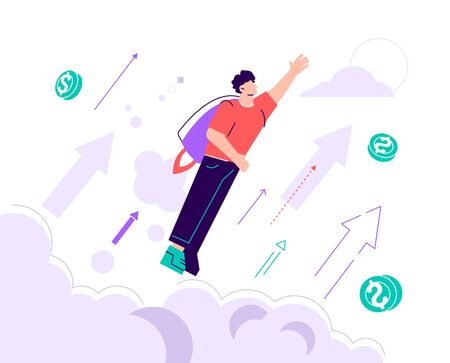 Businessman wearing a jetpack and taking off to high sky. Vector illustration, move up motivation, The way to achieve the goal, jet pack. Flat style modern design vector illustration for web page