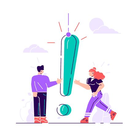 Vector illustration, concept illustration of people frequently asked questions, waiting to be answered, around the exclamation mark, answer to the metaphor of the question - vector. Flat style modern