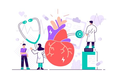 Circulatory system complications concept. Cardiologists studying human organ. Heart disease, ischemic heart disease, coronary artery disease concept. Flat style creative vector isolated illustration.