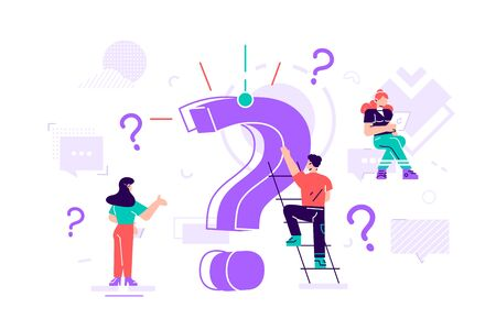 Question mark concept. Business people asking questions around a huge question mark. Flat style vector design illustration for web banner, infographics, mobile website, cards. Landing page template. Vettoriali