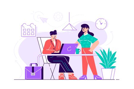 Young man is sitting at a desk with computer and his colleague is pointing to a screen and giving advice. Office business concept. Flat style modern design vector illustration for web page, cards Illustration