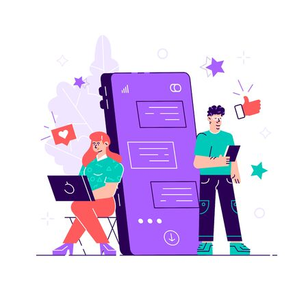 Pretty woman is sitting at her laptop and chatting with handsome man with huge phone and emoji on the background. Dating app and virtual relationship. Chat bubble.Flat style modern vector illustration