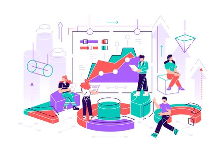 Illustration of a business, office workers study infographics on a graph of columns, analyze the evolutionary scale, business negotiations, raise the vector. Flat style modern design illustration