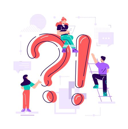 Giant question mark and interrogation point and tiny people. Concept of FAQ, user manual or guide, customer support, search of useful information for problem solving. Flat colored vector illustration