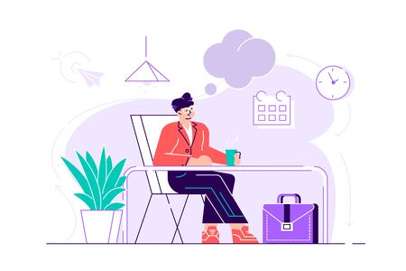 Business man is relaxing and dreaming about something at his work place. Modern office interior. Business concept. Flat style vector design illustration for web page, cards, poster, social media. Illustration