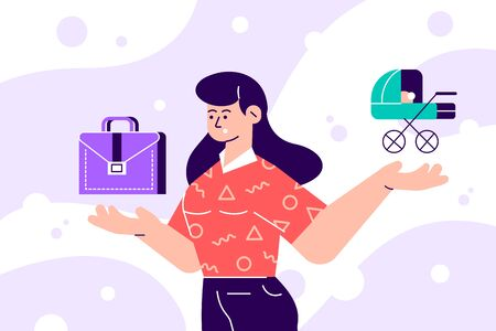Woman choosing between family or parent responsibilities and career or professional success. Difficult choice, life dilemma, search of balance, decision making. Modern flat cartoon vector illustration Standard-Bild - 140170375