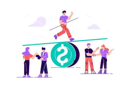 Business vector illustration of groups of people on a swing on a big coin, balance, cost, power and comparison. Flat style modern design vector illustration for web page, cards, poster, social media.