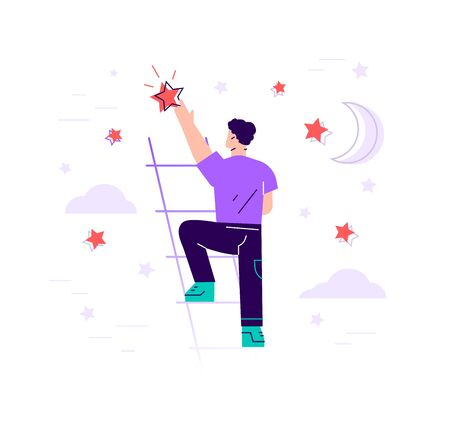 Businessman is standing on stairs and reaching star on the sky -  Flat vector illustration. Goals and dreams. Business and career concept. Modern design flat style vector illustration isolated.
