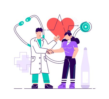 Doctor taking care of patient health for medical exam, checkup or consultation concept. Medicine illustration on isolated background. EPS10 vector. Flat style modern design vector illustration. Ilustracja