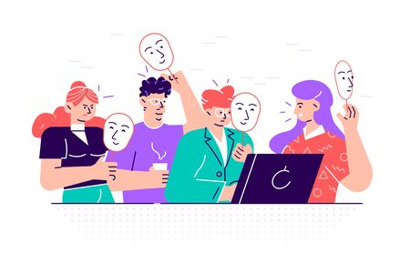 Group of people covering their faces with masks expressing positive emotions. Concept of hiding personality or individuality, psychological problem. Flat style cartoon colorful vector illustration.