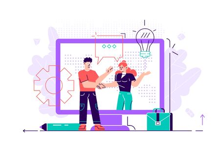 Online conclusion of the transaction. the opening of a new startup. business handshake, via phone and laptop. vector illustration in a flat style investor holds money in ideas online.Flat style vector Illustration