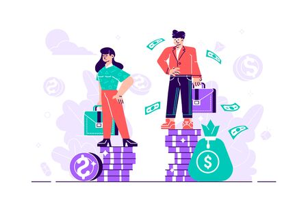 Businessman and businesswoman are standing on stacks of coins representing wages level - vector. Gender gap and inequality in salary. Sexism and discrimination. Flat style design vector illustration