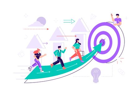 Vector. People run to their goal on the column of columns, move up motivation, the path to the targets achievement. Flat style vector illustration for web page, social media, documents, cards,posters