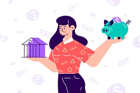 Woman choosing between bank and piggybank. Budget planning concept isolated clipart. Money savings investment and funding. Bank loan and economy choice. Financial literacy. Flat vector illustration. Stock Illustratie
