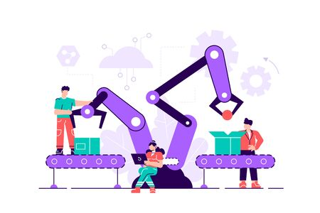 A production line with workers, automation and user interface concept: user connecting with a tablet and sharing data with a cyber-physical system, Smart industry 4.0. Flat style vector illustration