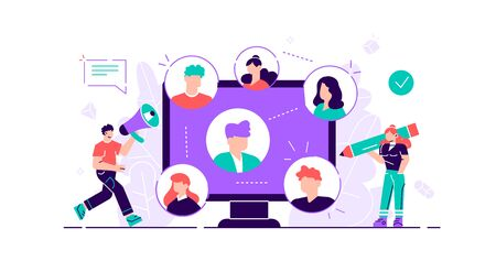 Referral concept. Marketing consumer audience communication service for influencer advertising. Products promotion persons. New customers word of mouth engagement method. Flat tiny vector illustrati