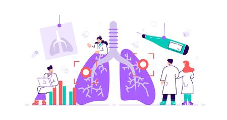 Pulmonology concept. Lungs healthcare persons. Internal organ inspection check for illness, disease or problems. Abstract respiratory system examination and treatment. Flat tiny vector illustration