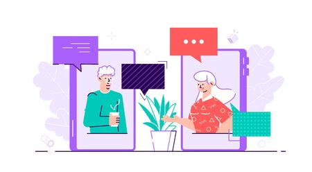Old aged family couple man  woman communication using smart phone video call. Elderly people talking, chatting, messaging, gossiping on social network topics. Flat style vector character illustration