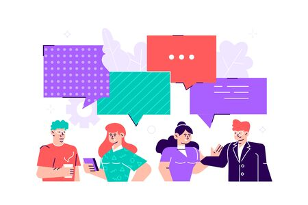 Businessmen discuss social network, news, social networks, chat, dialogue speech bubbles. Business people group. Chat communication. Vector illustration, for web page, banner, presentation, poster. 向量圖像