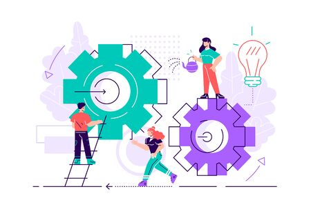 Vector illustration. Teamwork on finding new ideas. Little people launch a mechanism, search for new solutions. Creative work. Flat style vector illustration for web page, social media, documents.