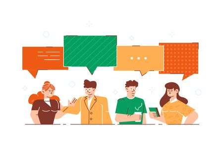 Businessmen discuss social network, news, social networks, chat, dialogue speech bubbles. Business people group. Chat communication. Vector illustration, for web page, banner, presentation, poster. Illustration
