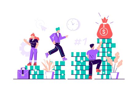 Investment management, the company is engaged in the joint construction and the cultivation of cash profits, career growth to success, flat color icons, business analysis. Vector illustration design Vettoriali
