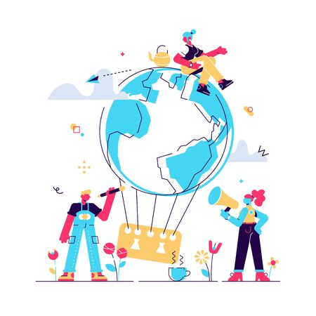 Vector flat illustration, little people are preparing for the day of the environment, save the planet, a balloon in the form of a planet. Flat style modern design vector illustration for web page