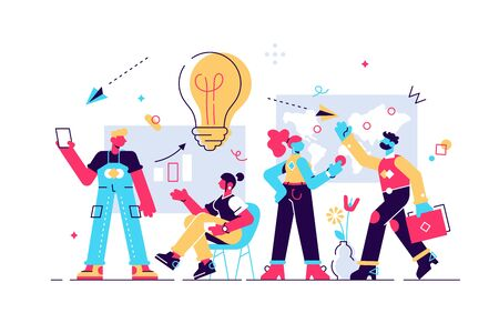 Vector illustration. Training of office staff. Increase sales and skills. Team thinking and brainstorming. Analytics of company information. Flat style modern design vector illustration for web page Vectores