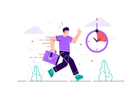 Office worker character running with back on fire. Deadline and rush hour. Flat style modern design vector illustration for web page, cards, poster, social media.