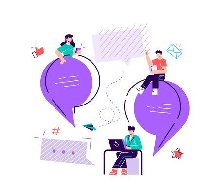 Vector flat illustration, a group of people communicates through the Internet social networks, the concept of communication, discussing business, news, acquaintance. Flat style modern design vector Stock Illustratie
