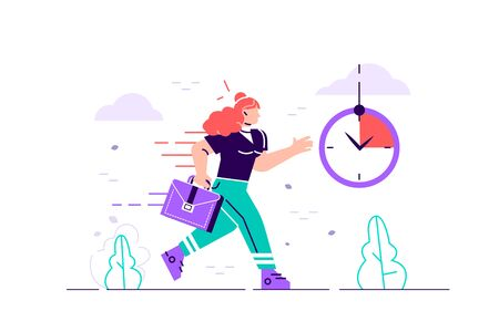 Businesswoman character running with back on fire. Deadline and rush hour. Flat style modern design vector illustration for web page, cards, poster, social media.