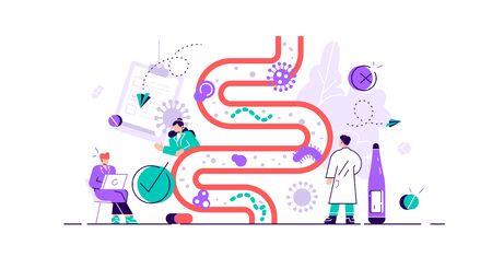 Illustration vectorielle de flore intestinale. Concept de personne microbe gastro-intestinal plat minuscule. Résumé des organismes vivants de l'estomac digestif pour une vie saine. Lactobacilles, coli et environnement du système intestinal.