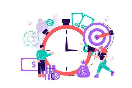 Finance. graphic elements are a beneficial investment in investing in a successful business in a short period of time. A cohesive team of people working on business. Flat style vector illustration.