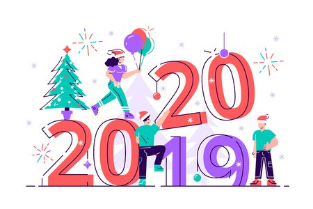 Little people get ready for the New Year, are engaged in decoration, the inscription New Year 2020 replaces 2019. Flat style vector illustration for web page, social media, documents, cards, posters.