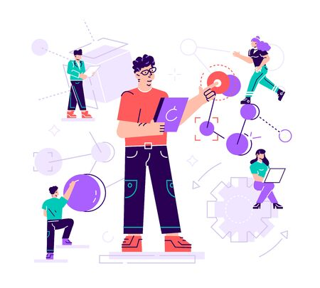 Vector creative illustration. the scientist conducts laboratory studies and studies the statistical data of the results. compound malekul and atoms. modern technology machine learning, artificial