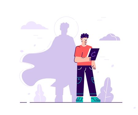 Vector business illustration, male with superhero shadow, symbol of ambition motivation leadership. Flat style modern design vector illustration for web page, cards, poster, social media. Vetores