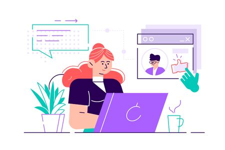 Woman sitting at laptop and using website for dating or searching for love or romantic partner on internet. Cute smiling girl trying to find boyfriend online. Flat style cartoon vector illustration. Vecteurs