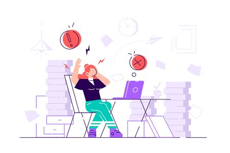 Tired and exasperated woman office worker is grabbed his head among piles of papers and documents. Stress in the office. Rush work. Flat style modern design vector illustration for web page, cards