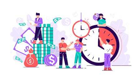 Flat. Concept save time, money saving. Times is money. Business and management, Piggybank, time is money, financial investments in stock market future income growth, Time management planning, Deadline Ilustracja