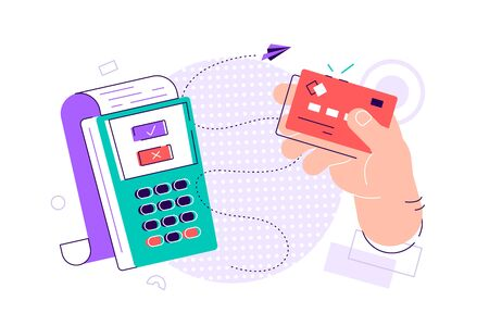 Hand holding debit or credit card, waving it over electronic terminal or reader and paying or purchasing. Contactless payment system or technology. Colorful modern vector illustration in flat style.