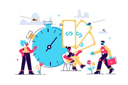 Time is money, business and Finance. Payment day, clock and money vector illustration-vector. Flat style modern design vector illustration for web page, cards, poster